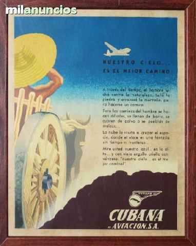 Cartel de turismo - cubana de aviaciÓn - foto 1