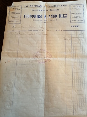factura año 1935 - foto 1