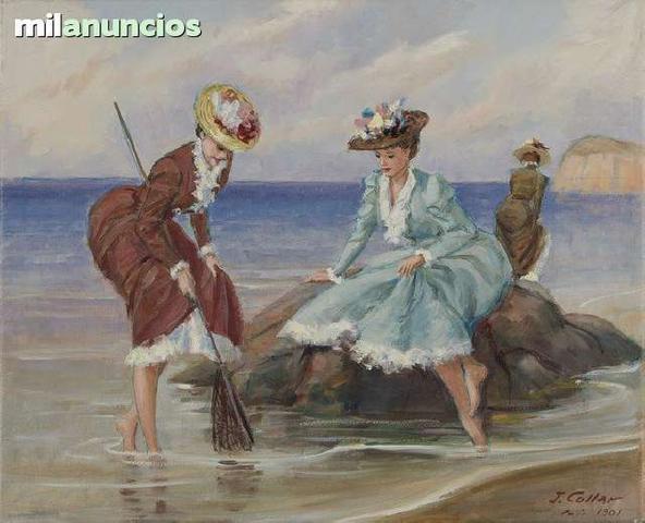 Pintura de j. collar - damas pescando - foto 1