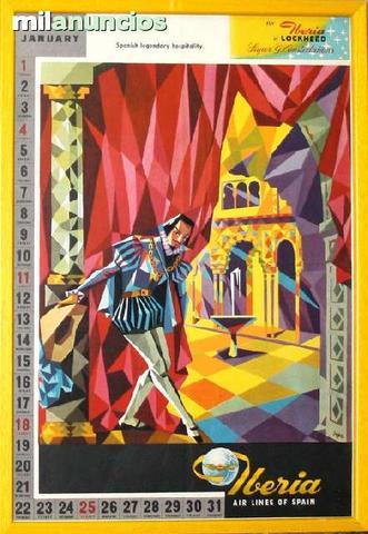 Cartel iberia, calendario enero 1959 - foto 1
