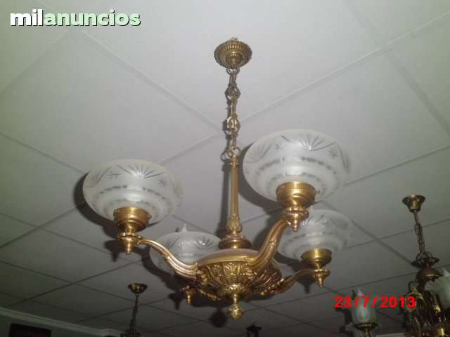 LÁmpara de techo antigua, 4 brazos. - foto 1