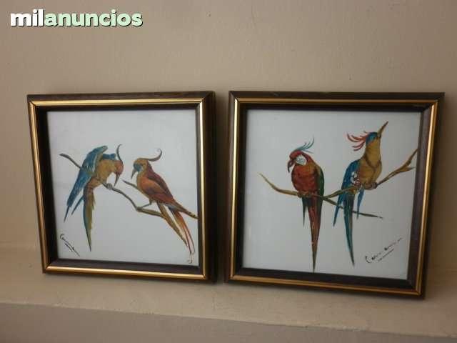 2 pinturas sobre baldosa de los aÑos 60 - foto 1