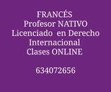 PROFESOR NATIVO DE FRANCéS CLASES ONLINE