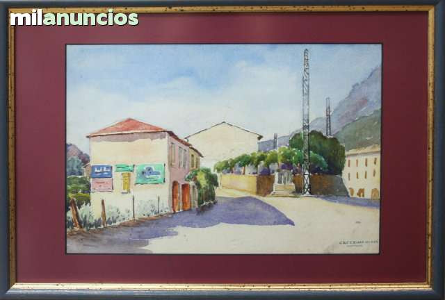 Acuarela de caferino olivÉ - calle rural - foto 1