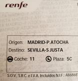 3 BILLETES AVE MADRID-SEVILLA