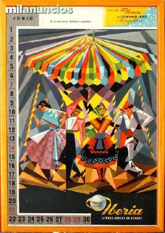 Cartel iberia calendario junio 1959 - foto 1