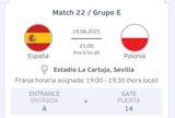 ENTRADA ESPAÑA -POLONIA   EUROCOPA