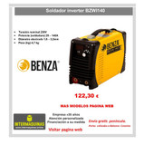 OF SOLDADOR INVERTER BENZA BZWI140