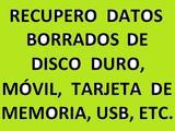 RECUPERO DATOS DISCO DURO,TARJETAS,MÓVIL