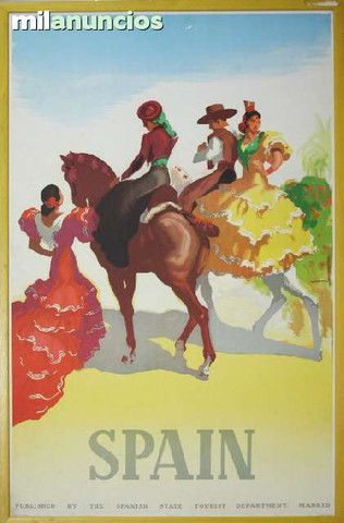 Cartel de mozos y sevillanas a caballo - foto 1