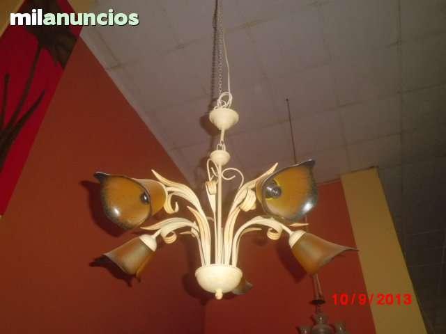 lámpara de forja pintada en color marfil - foto 1