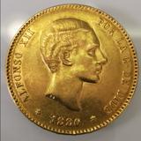 MONEDA ORO 25 PTAS ALFONSO XII 1880