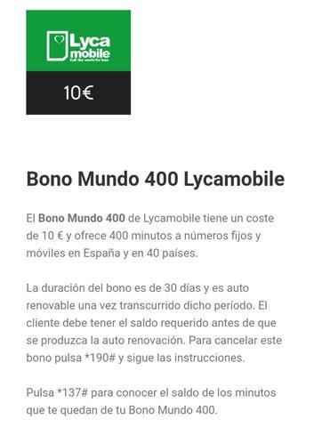 Bono mundo 400 lycamobile - foto 1
