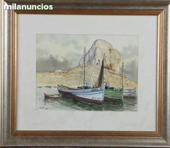 Cuadro barco pesquero con peÑÓn al fondo - foto 1